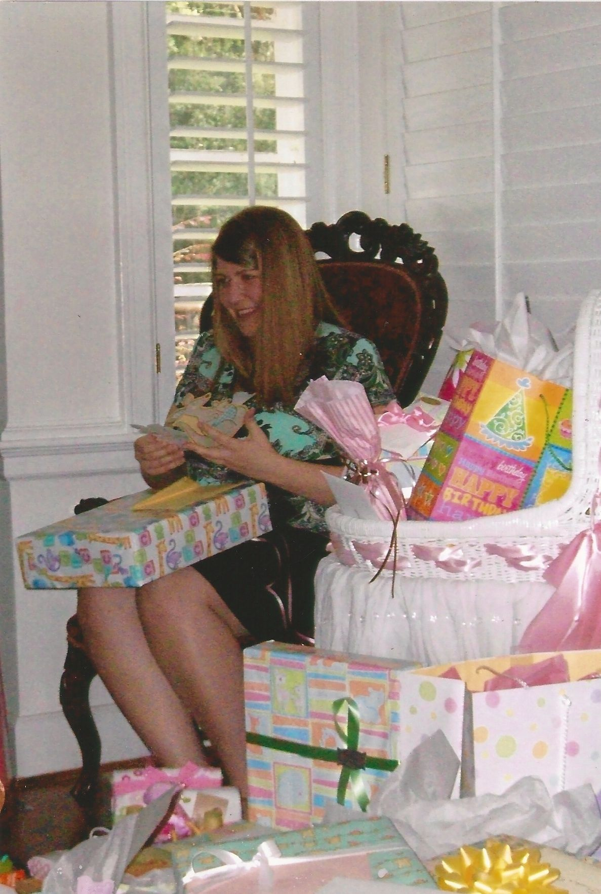 Brooke in chair at baby shower
